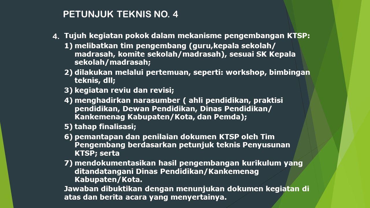 PETUNJUK TEKNIS NO. 4 4. Tujuh kegiatan pokok dalam mekanisme pengembangan KTSP: