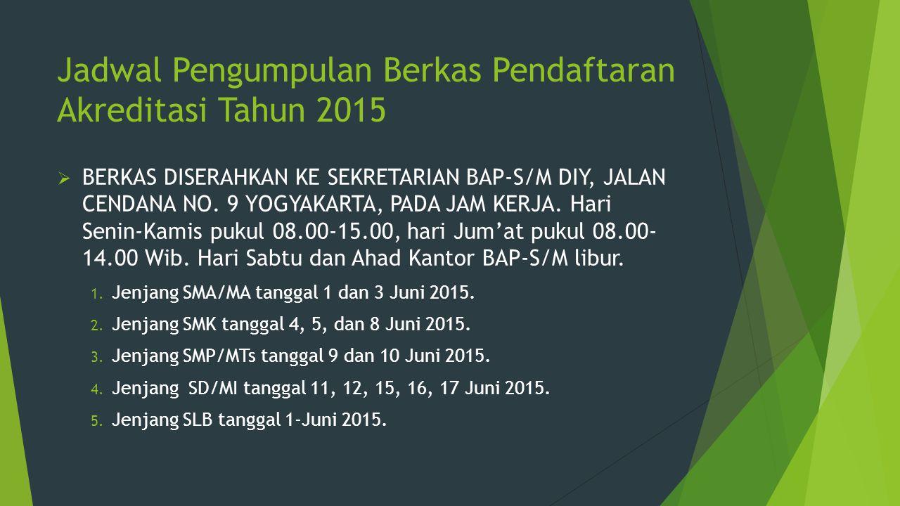 Jadwal Pengumpulan Berkas Pendaftaran Akreditasi Tahun 2015