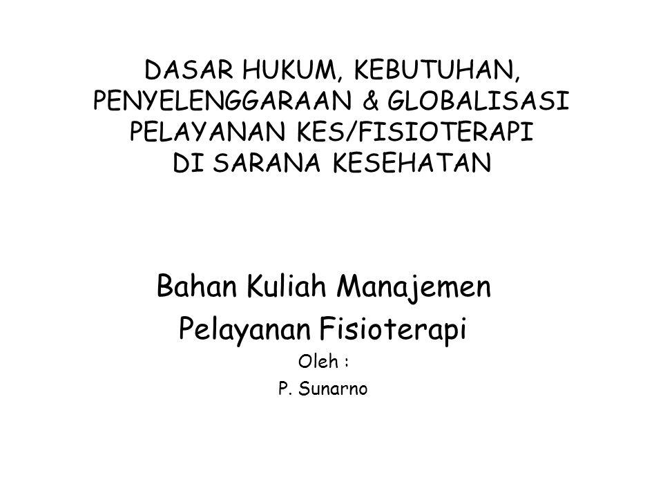 Bahan Kuliah Manajemen Pelayanan Fisioterapi Oleh : P. Sunarno
