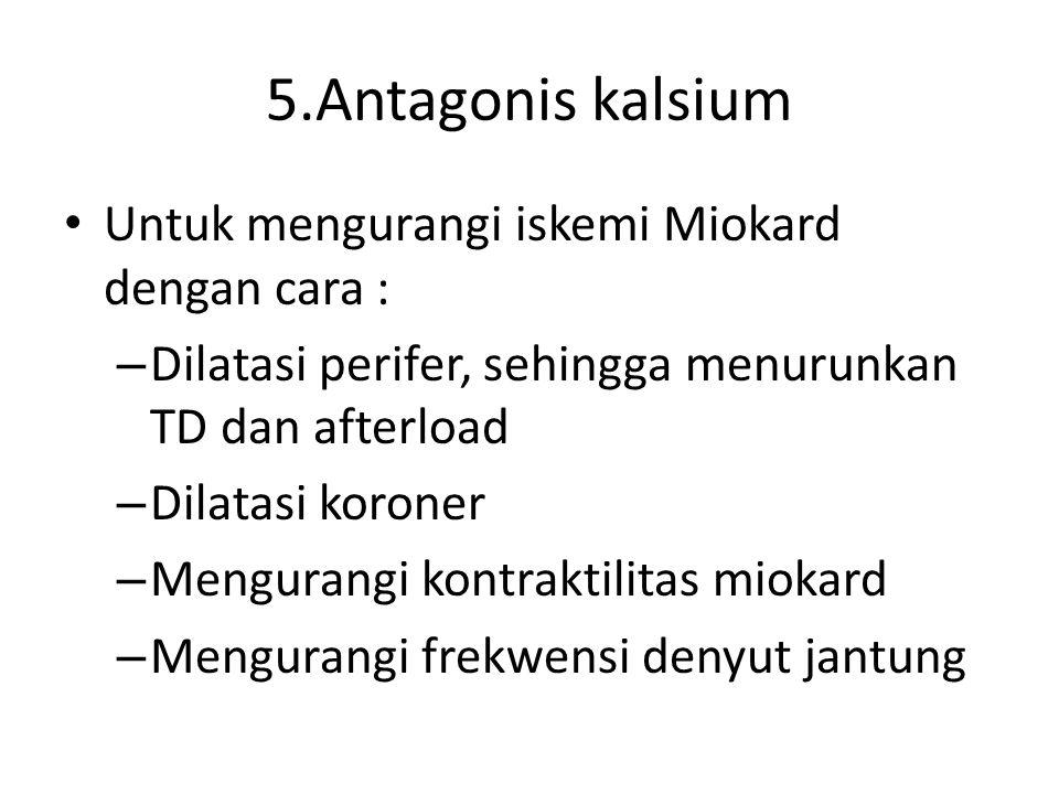 5.Antagonis kalsium Untuk mengurangi iskemi Miokard dengan cara :