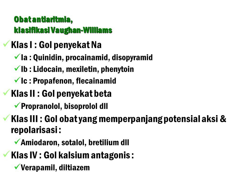 Obat antiaritmia, klasifikasi Vaughan-Williams