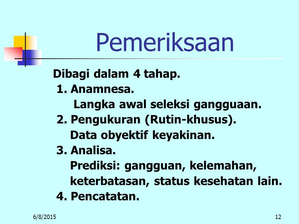Pemeriksaan Dibagi dalam 4 tahap. 1. Anamnesa.