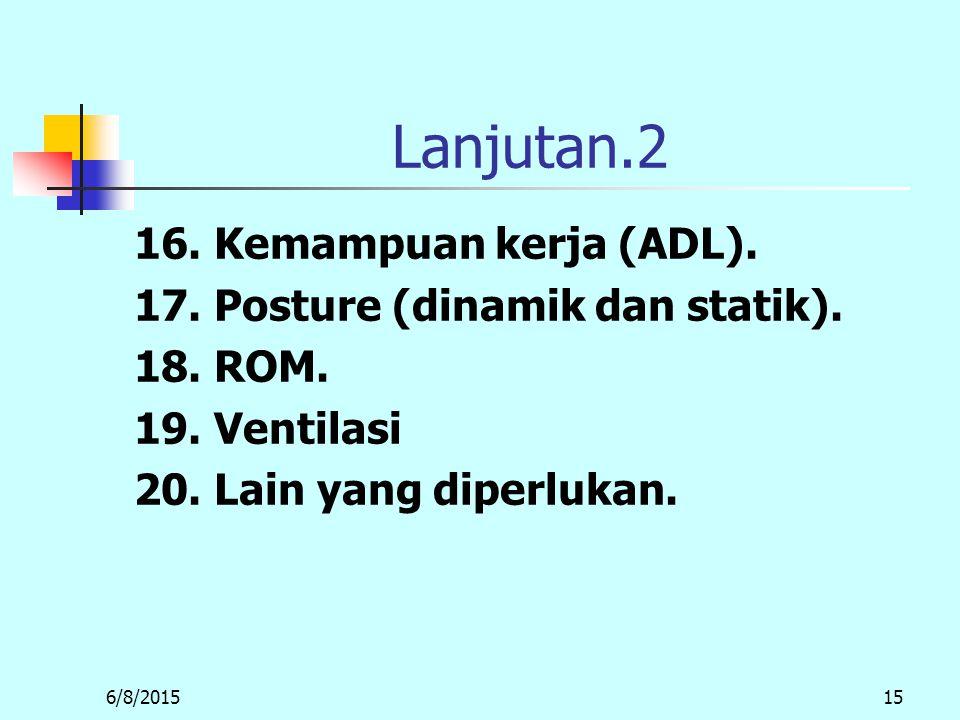 Lanjutan.2 16. Kemampuan kerja (ADL).