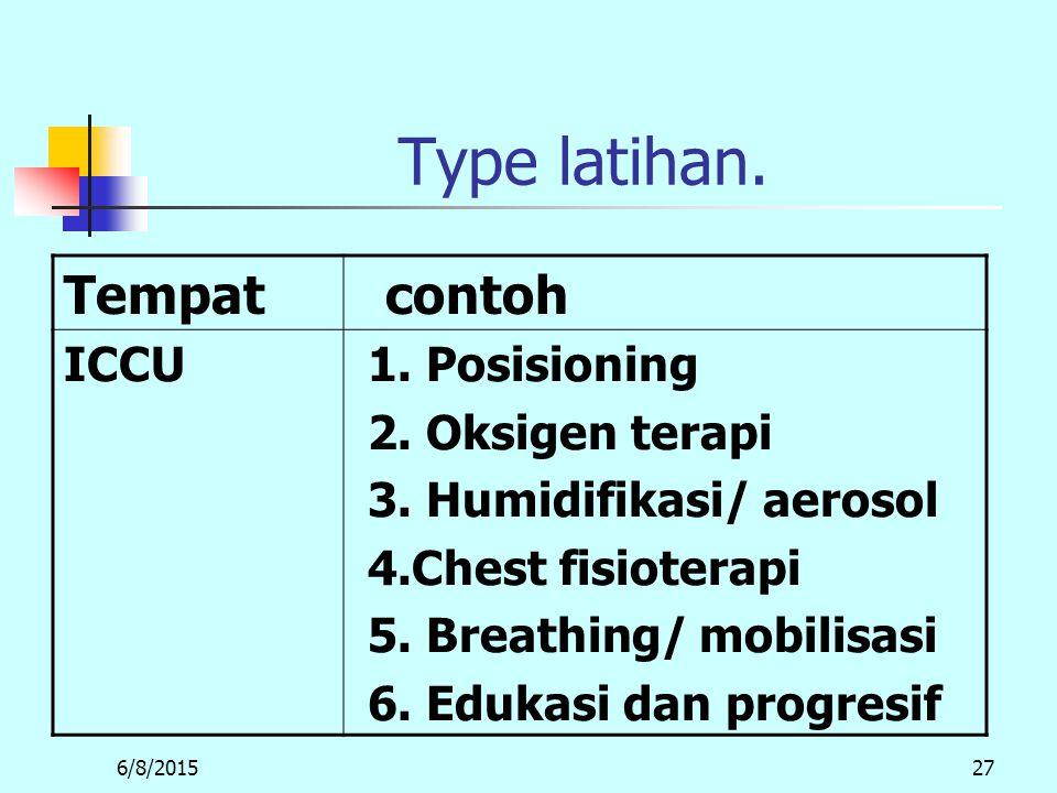 Type latihan. Tempat contoh ICCU 1. Posisioning 2. Oksigen terapi