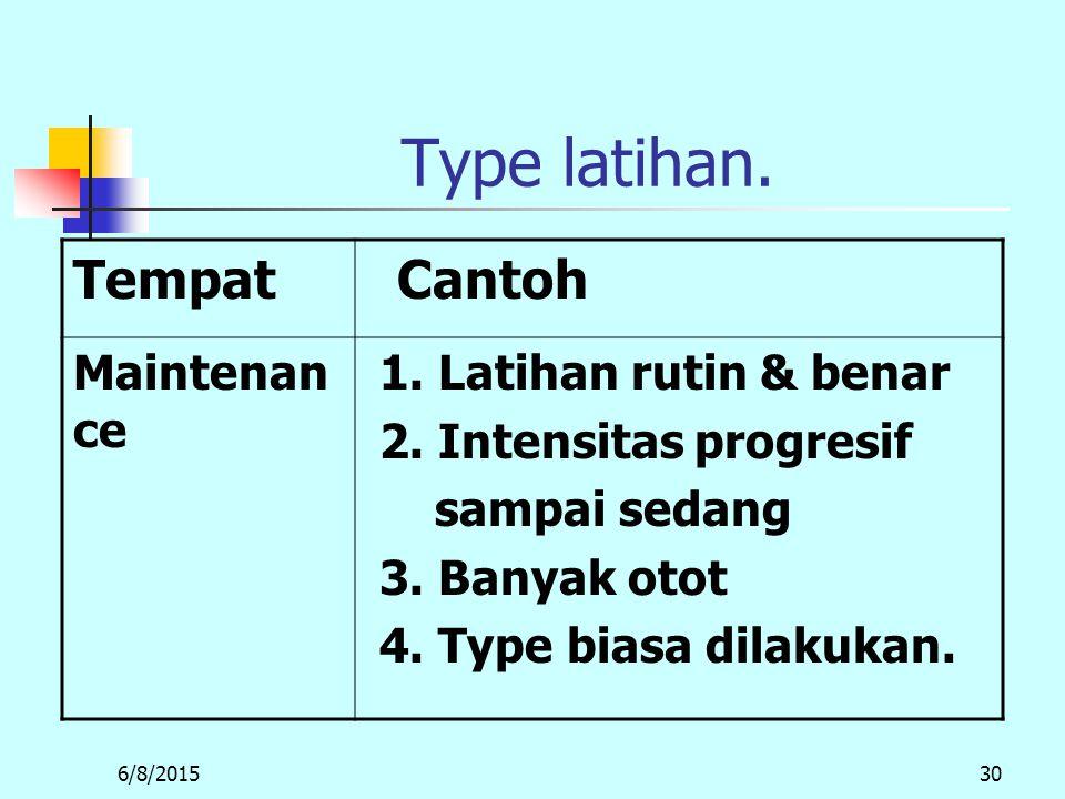Type latihan. Tempat Cantoh Maintenance 1. Latihan rutin & benar
