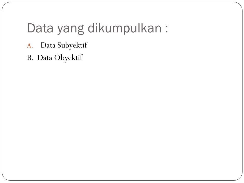 Data yang dikumpulkan :