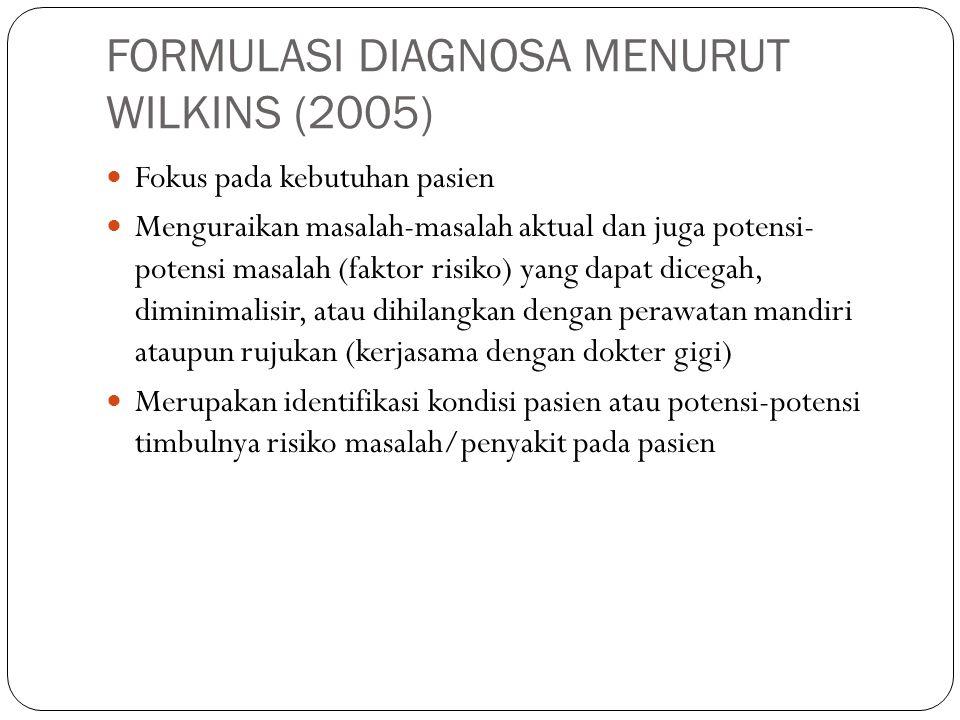 FORMULASI DIAGNOSA MENURUT WILKINS (2005)