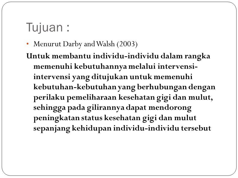 Tujuan : Menurut Darby and Walsh (2003)