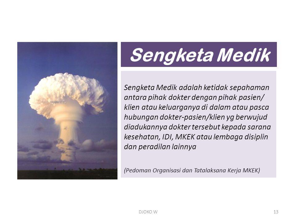 Sengketa Medik Sengketa Medik adalah ketidak sepahaman antara pihak dokter dengan pihak pasien/ klien atau keluarganya di dalam atau pasca.