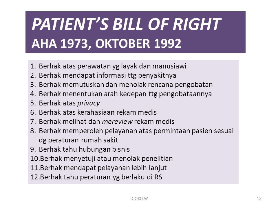 PATIENT'S BILL OF RIGHT AHA 1973, OKTOBER 1992