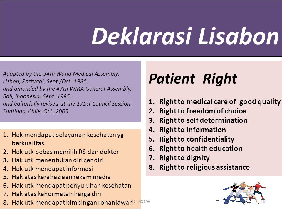 Deklarasi Lisabon Patient Right Right to medical care of good quality