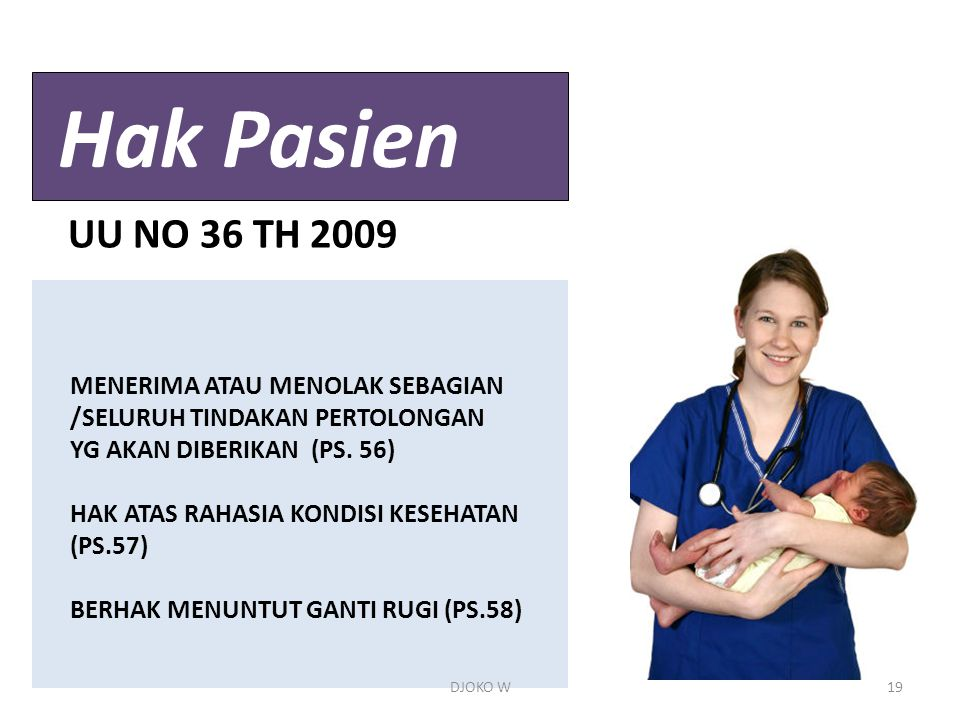Hak Pasien UU NO 36 TH 2009 MENERIMA ATAU MENOLAK SEBAGIAN