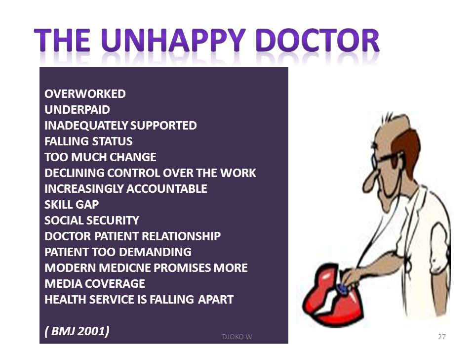 THE UNHAPPY DOCTOR OVERWORKED UNDERPAID INADEQUATELY SUPPORTED
