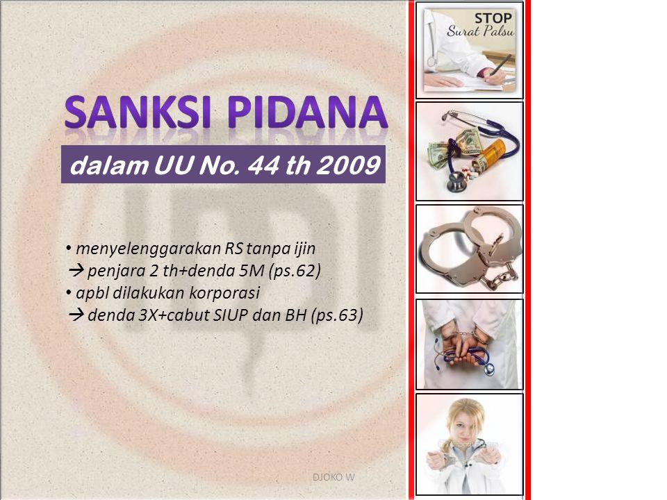 Sanksi pidana dalam UU No. 44 th 2009 menyelenggarakan RS tanpa ijin