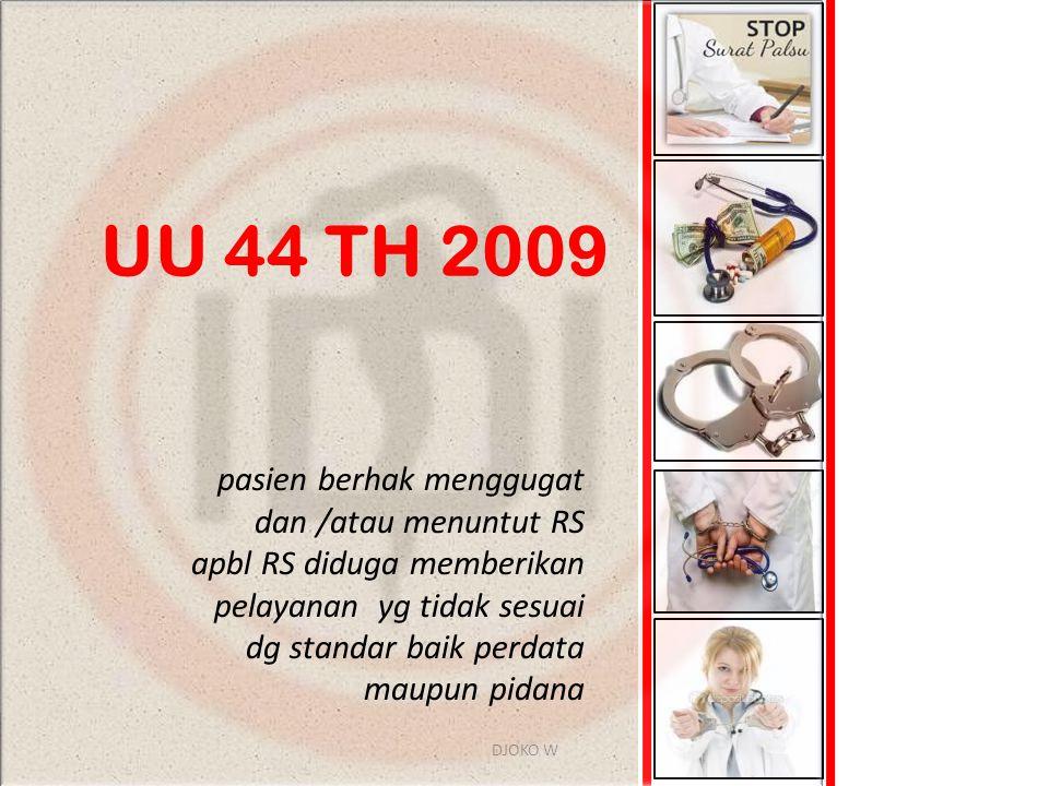 UU 44 TH 2009 pasien berhak menggugat dan /atau menuntut RS