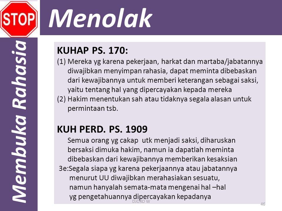 Menolak Membuka Rahasia KUHAP PS. 170: KUH PERD. PS. 1909