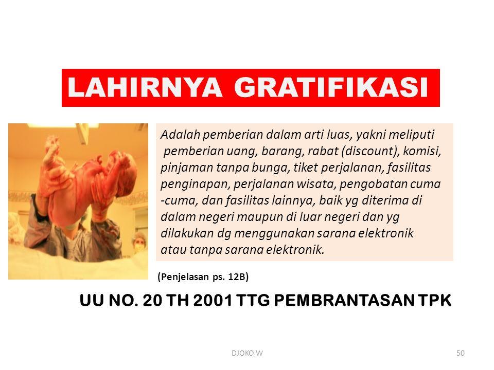 LAHIRNYA GRATIFIKASI UU NO. 20 TH 2001 TTG PEMBRANTASAN TPK