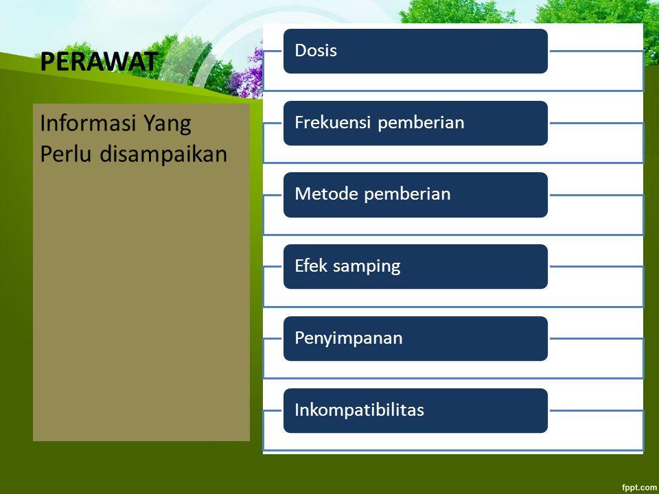PERAWAT Informasi Yang Perlu disampaikan Dosis Frekuensi pemberian