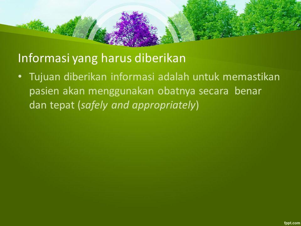 Informasi yang harus diberikan