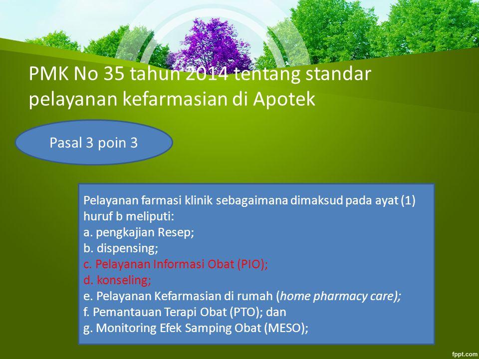 PMK No 35 tahun 2014 tentang standar pelayanan kefarmasian di Apotek