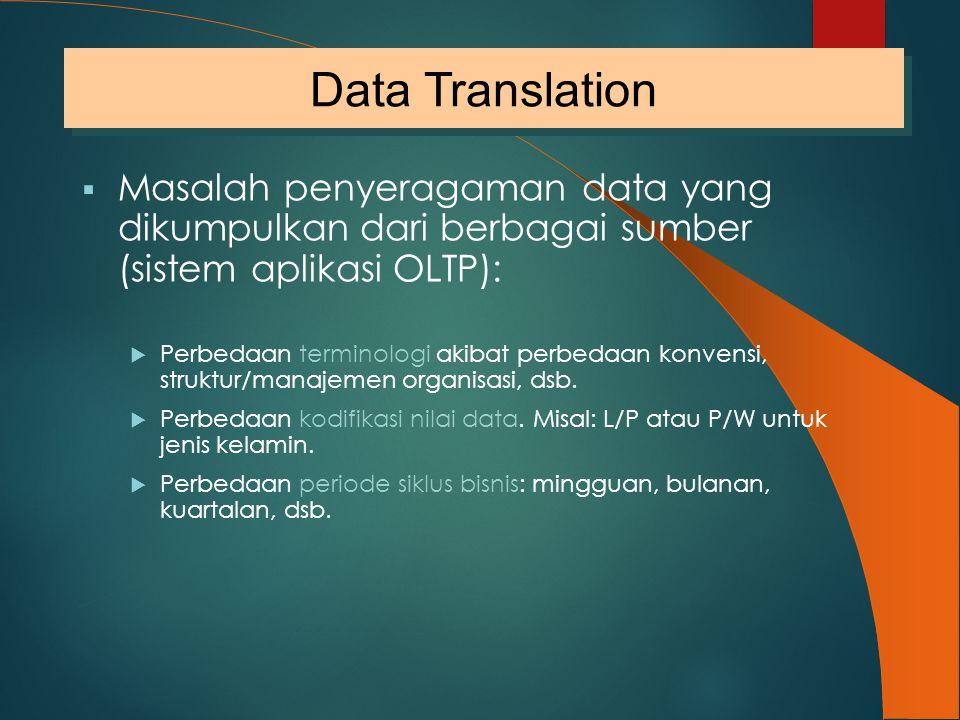 Data Translation Masalah penyeragaman data yang dikumpulkan dari berbagai sumber (sistem aplikasi OLTP):