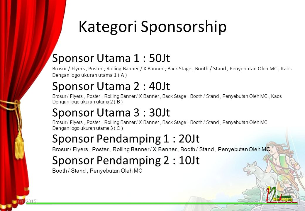 Kategori Sponsorship Sponsor Utama 1 : 50Jt Sponsor Utama 2 : 40Jt