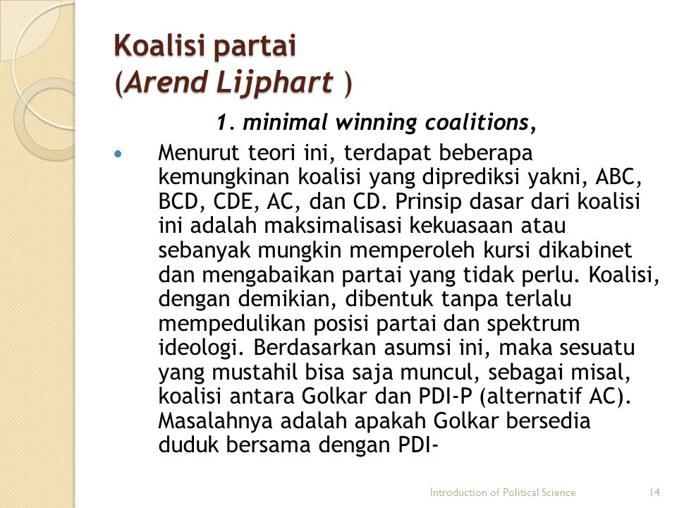 Koalisi partai (Arend Lijphart )