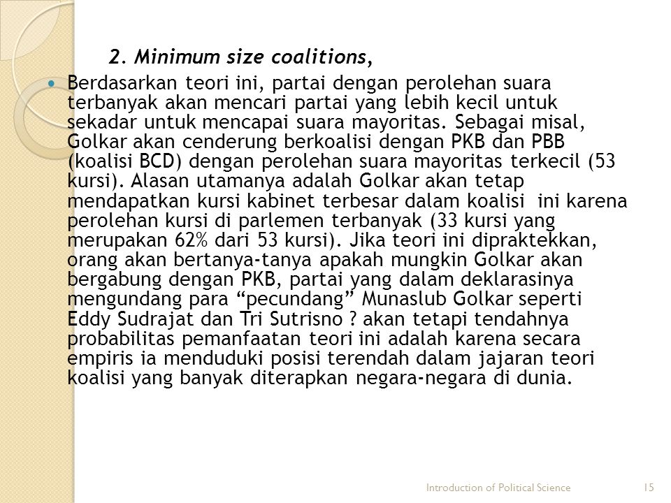 2. Minimum size coalitions,