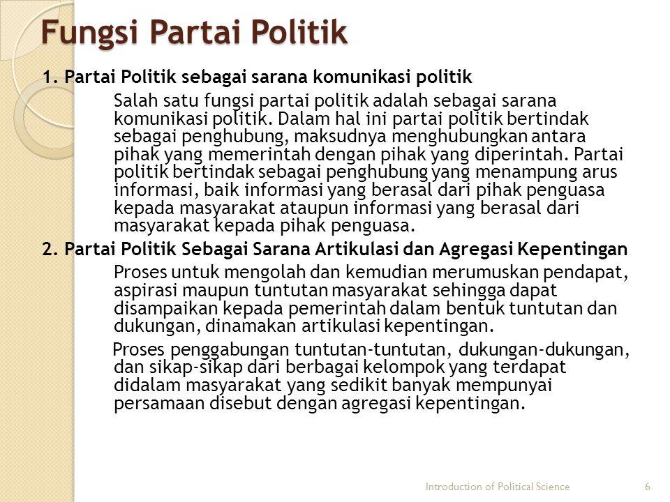 Fungsi Partai Politik