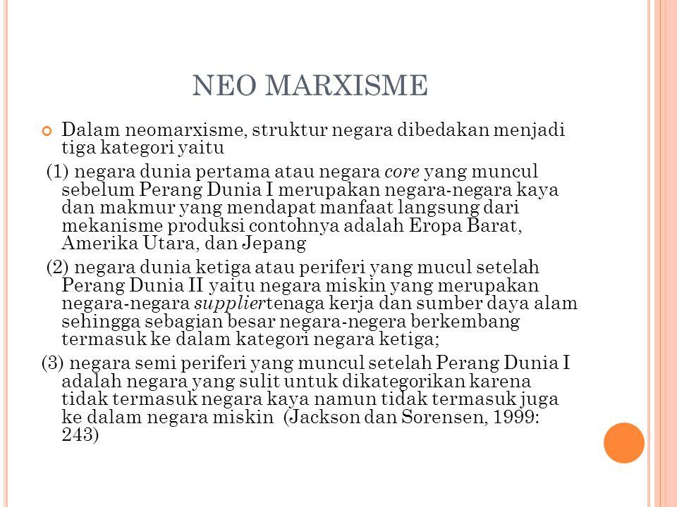 NEO MARXISME Dalam neomarxisme, struktur negara dibedakan menjadi tiga kategori yaitu.