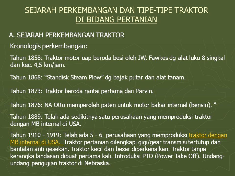 SEJARAH PERKEMBANGAN DAN TIPE-TIPE TRAKTOR DI BIDANG PERTANIAN