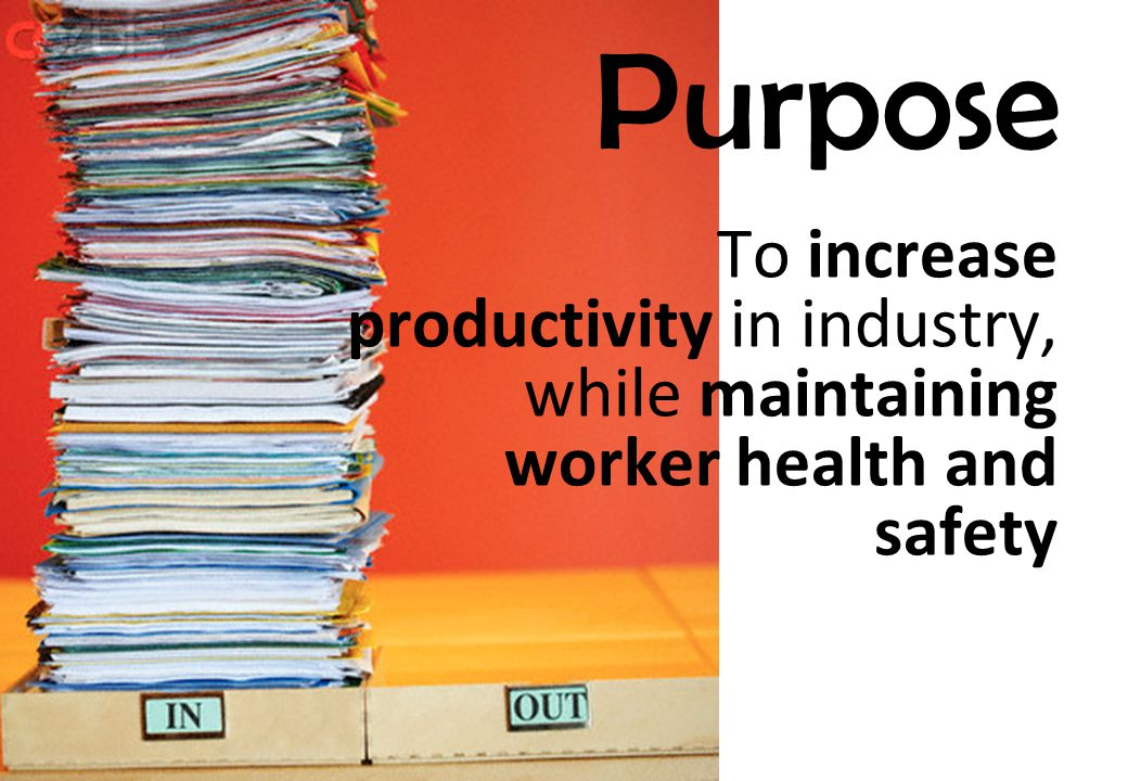 Purpose To increase productivity in industry, while maintaining worker health and safety