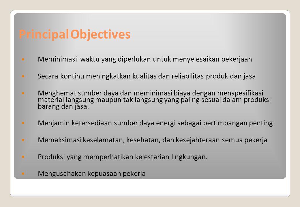 Principal Objectives Meminimasi waktu yang diperlukan untuk menyelesaikan pekerjaan.