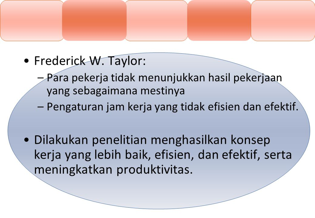 Frederick W. Taylor: Para pekerja tidak menunjukkan hasil pekerjaan yang sebagaimana mestinya. Pengaturan jam kerja yang tidak efisien dan efektif.
