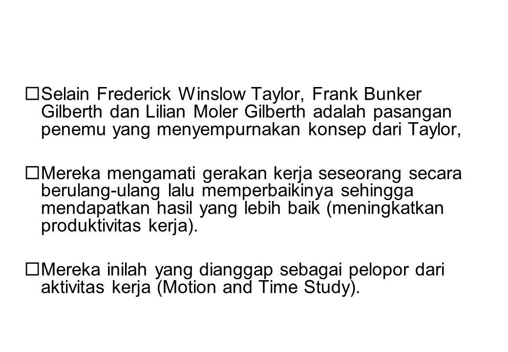 Selain Frederick Winslow Taylor, Frank Bunker Gilberth dan Lilian Moler Gilberth adalah pasangan penemu yang menyempurnakan konsep dari Taylor,