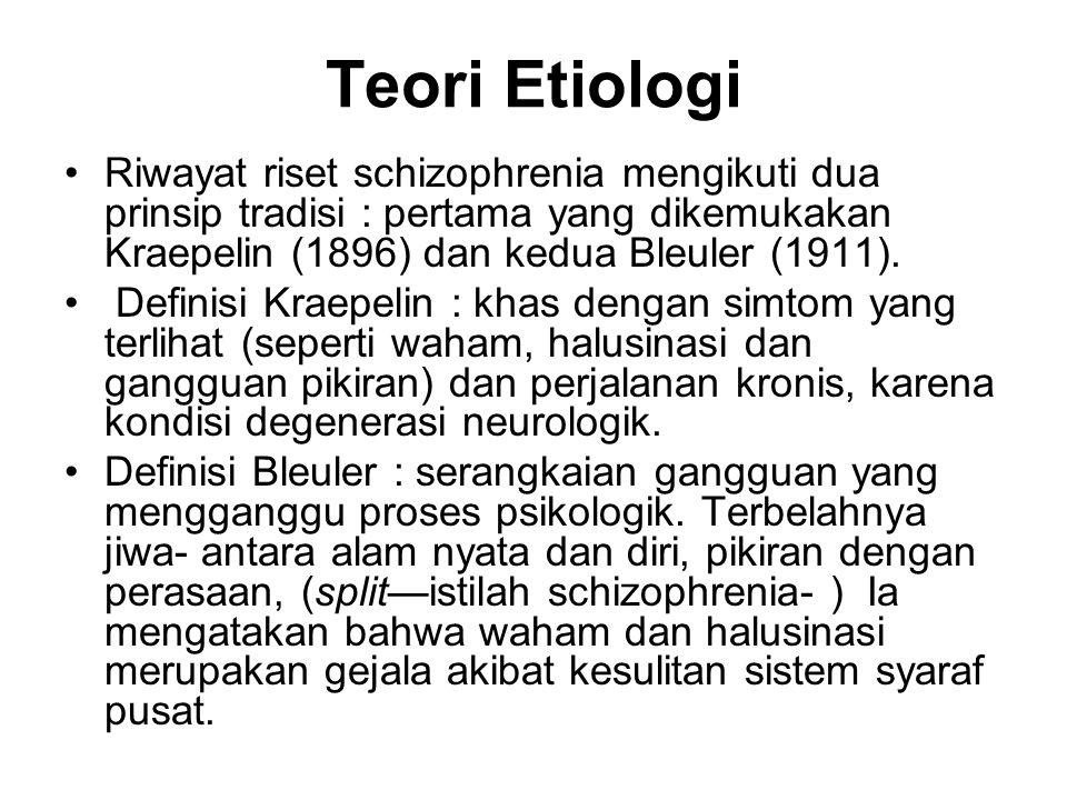 Teori Etiologi Riwayat riset schizophrenia mengikuti dua prinsip tradisi : pertama yang dikemukakan Kraepelin (1896) dan kedua Bleuler (1911).