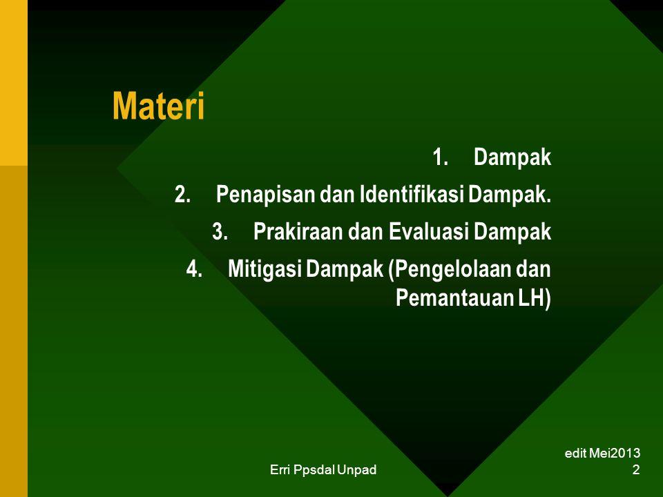 Materi Dampak Penapisan dan Identifikasi Dampak.