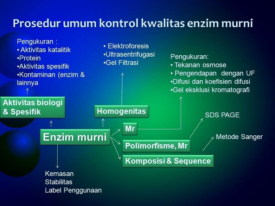Prosedur umum kontrol kwalitas enzim murni