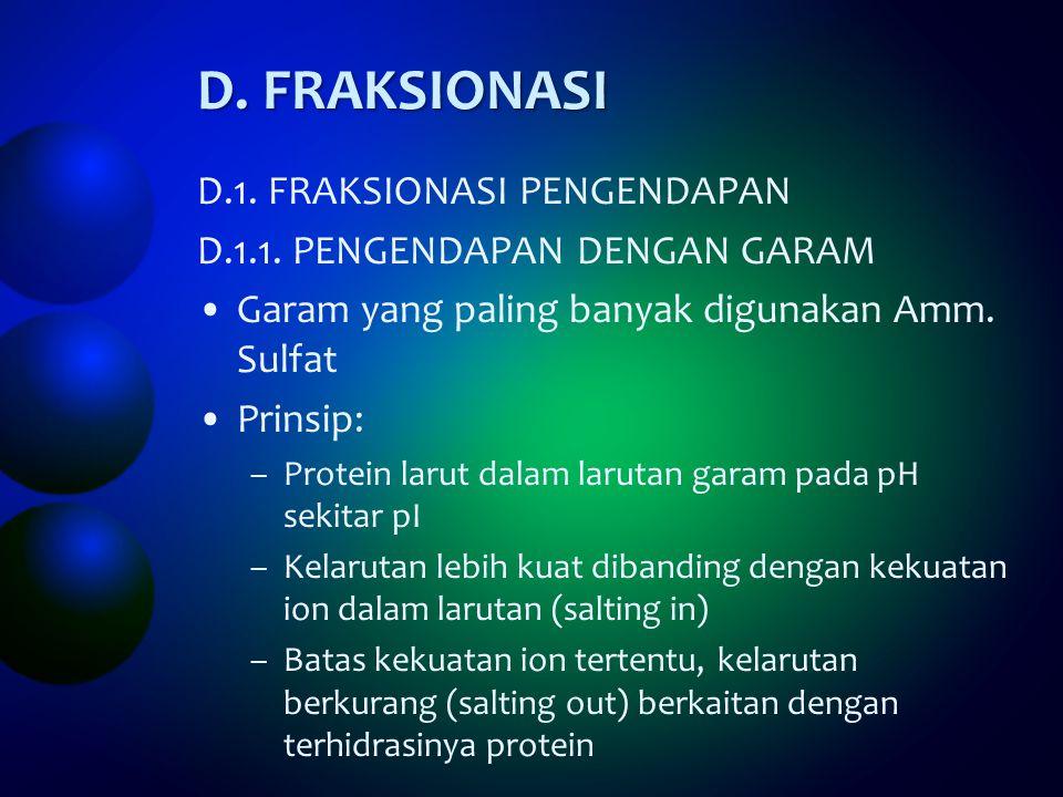 D. FRAKSIONASI D.1. FRAKSIONASI PENGENDAPAN