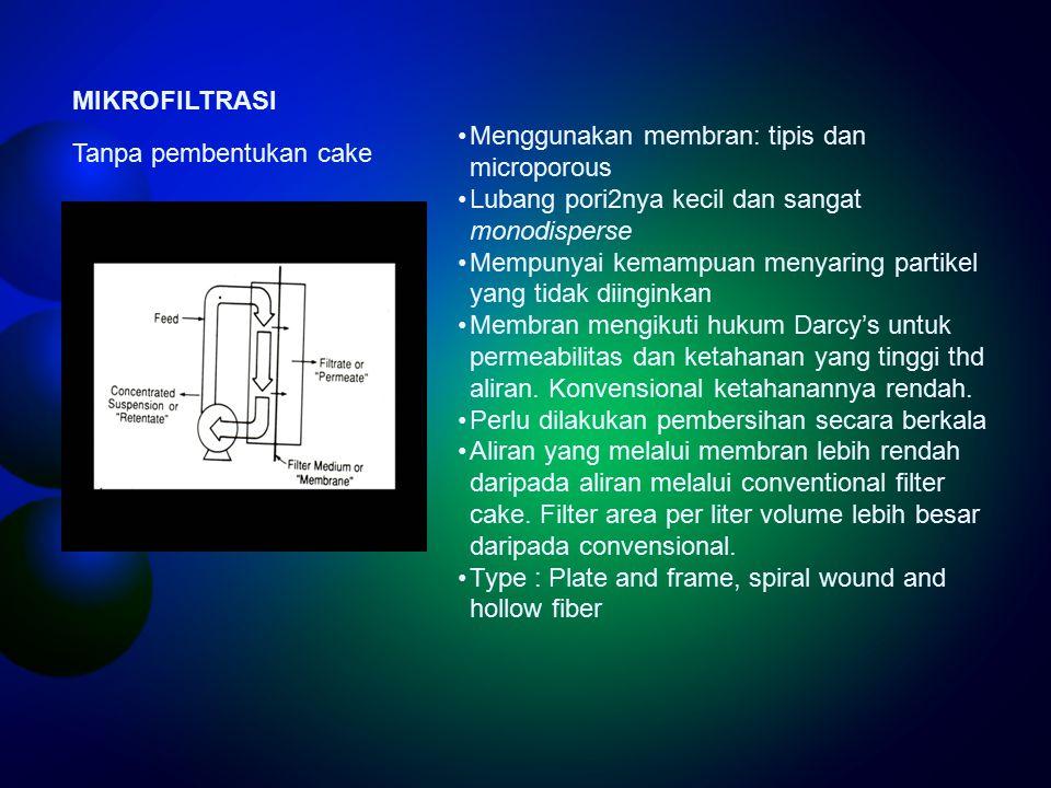 MIKROFILTRASI Menggunakan membran: tipis dan microporous. Lubang pori2nya kecil dan sangat monodisperse.