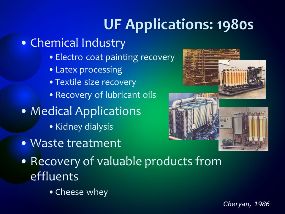 UF Applications: 1980s Chemical Industry Medical Applications