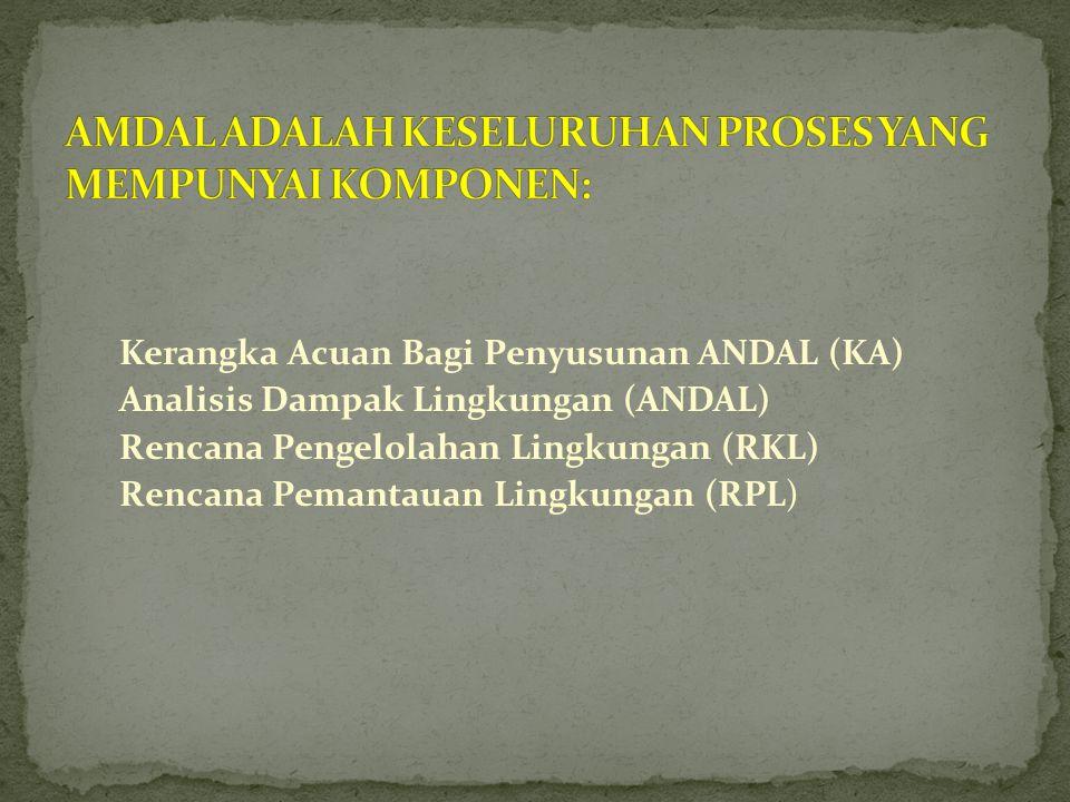 AMDAL ADALAH KESELURUHAN PROSES YANG MEMPUNYAI KOMPONEN: