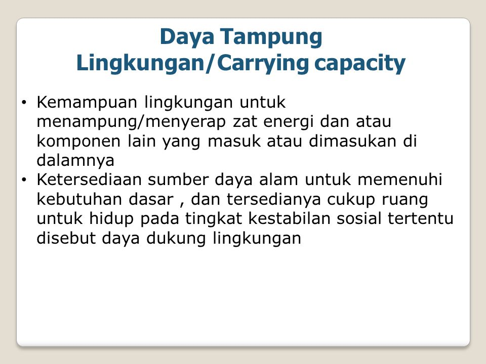 Daya Tampung Lingkungan/Carrying capacity
