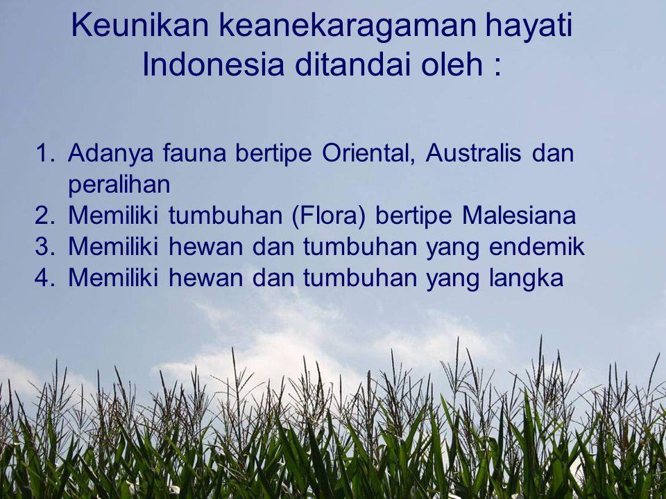 Keunikan keanekaragaman hayati Indonesia ditandai oleh :