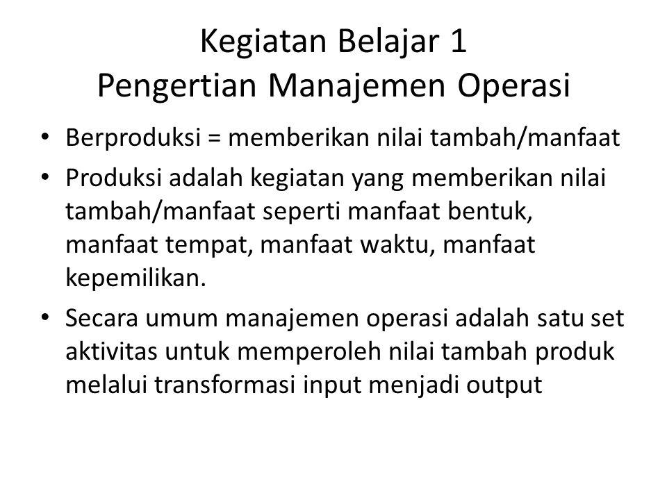 Kegiatan Belajar 1 Pengertian Manajemen Operasi