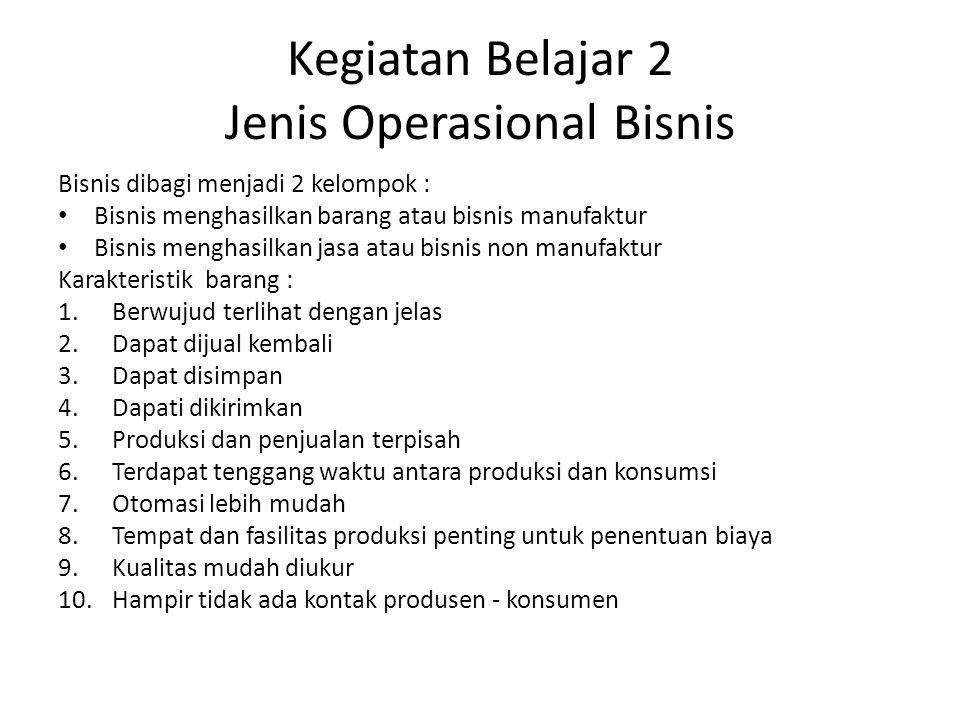 Kegiatan Belajar 2 Jenis Operasional Bisnis