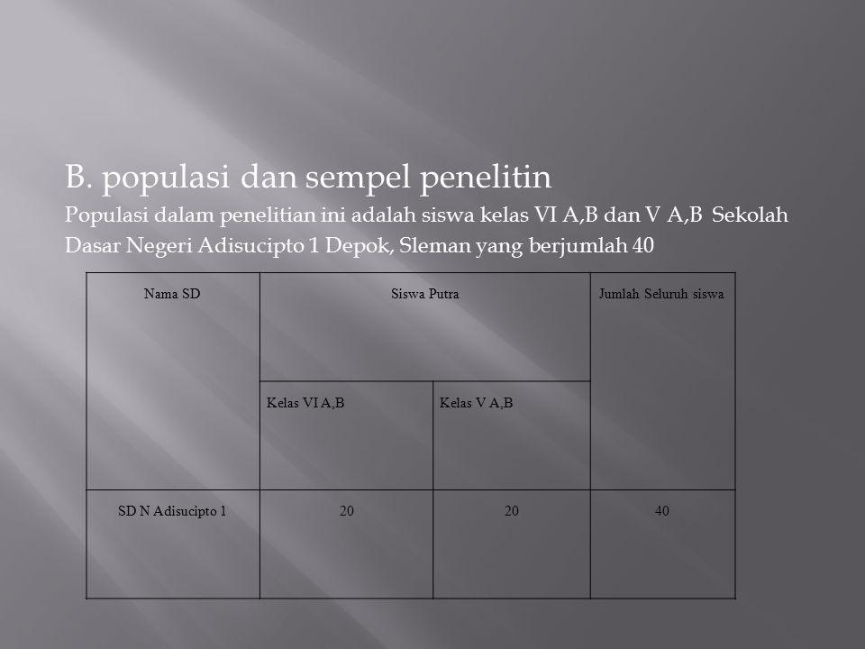 B. populasi dan sempel penelitin