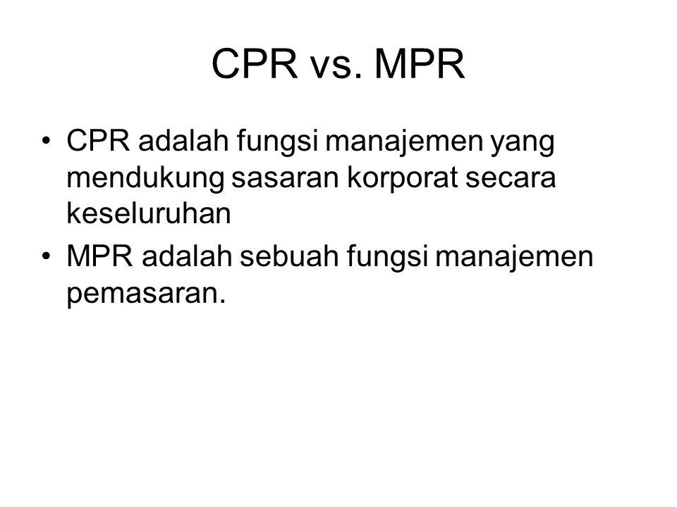 CPR vs. MPR CPR adalah fungsi manajemen yang mendukung sasaran korporat secara keseluruhan.