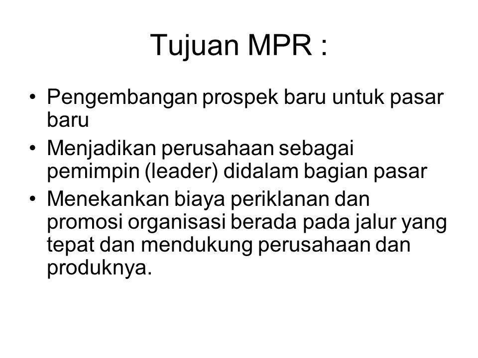 Tujuan MPR : Pengembangan prospek baru untuk pasar baru