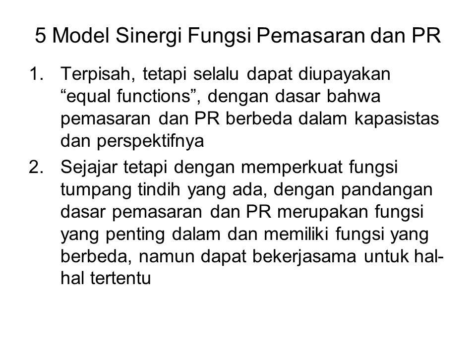 5 Model Sinergi Fungsi Pemasaran dan PR